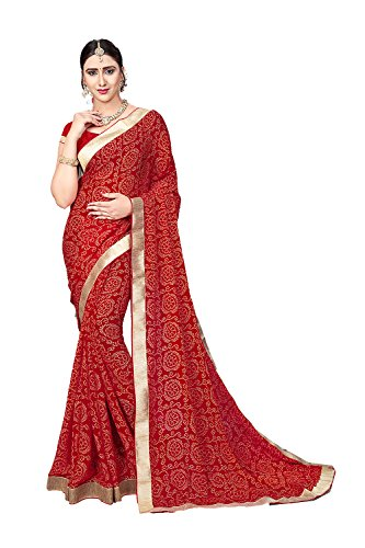 itsindiancrafty Indian Sarees for Women Traditional Rajasthani Bandhej Red Sari. by itsindiancrafty