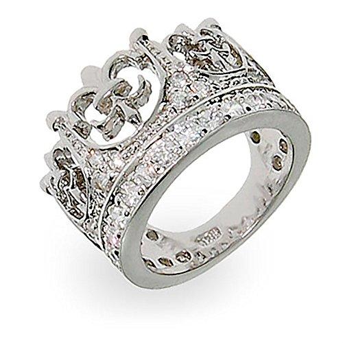 Fleur de Lis Crown Tiara Pave CZ Ring ()
