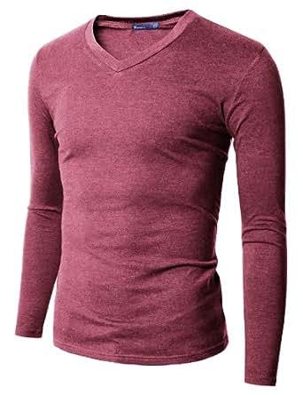 doublju mens v neck t shirts with long sleeve. Black Bedroom Furniture Sets. Home Design Ideas