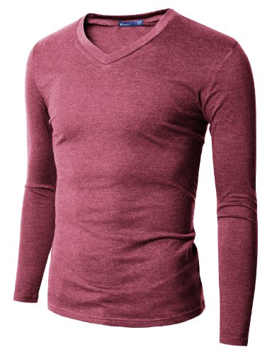 Doublju Mens V-Neck T-shirts with Long Sleeve BROWN (US-S)