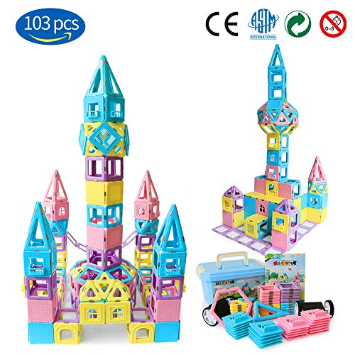 Magnetic Building Blocks STEM Educational Toys Tiles Set Boys & Girls丨Magnet Stacking Block Sets Kid's Basic Skills Learning & Development Toys-Great Gifts 103PCS -