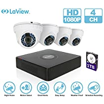 LaView 1080P 4 HD Security Camera System - 4CH Security System DVR with 1TB HDD 2MP Turret Cam Surveillance Kit