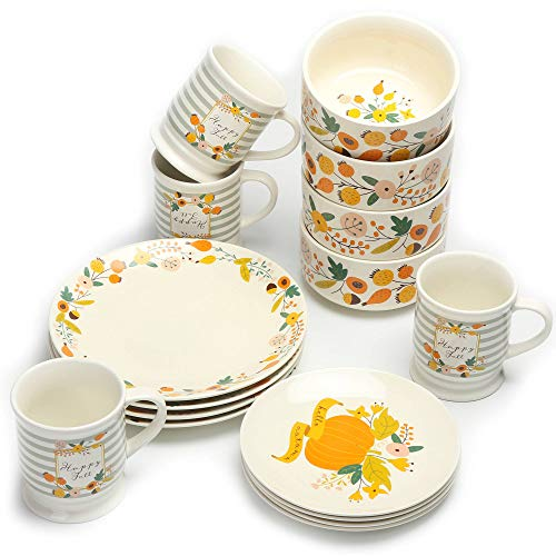 16-Piece Mainstays Happy Harvest Fall Floral Dinnerware Set, Made Out Of Durable Stoneware With Pumpkin Floral Decals ()