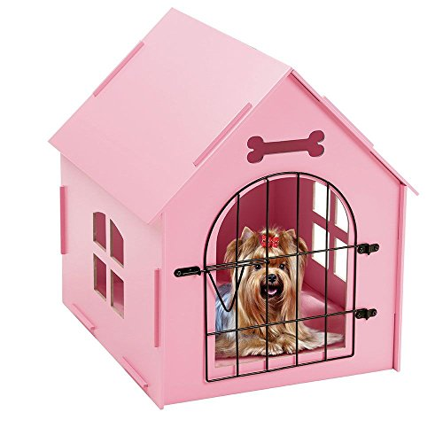 Wooden Pet House With Bars by TravenPal: Indoor Kennel for Small Dogs Cats Rabbits | Portable Pet Home with Door & Comfy Bed Matt | No tools needed - Spot Location A Female