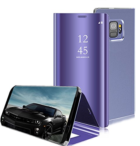 Omorro Smart Case For Galaxy S9 Sleep/Wake Window View Translucent Design Flip Wallet 360 Full Body Built-in Screen Protection Protector Slim Hard Mirror Stand Kickstand Cover For Samsung Galaxy S9