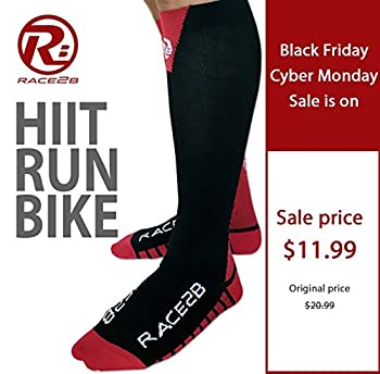 Race2B Compression Socks (L/XL) for HIIT Training, Running and Cycling, Firm Graduated 20-30mmHg Compression, Boost Performance & Recovery, Designed in USA by Ironman & Triathletes