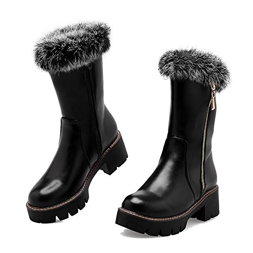 BalaMasa Girls Chunky Heels Platform Fur Collar Imitated Leather Boots Black W8s3f0