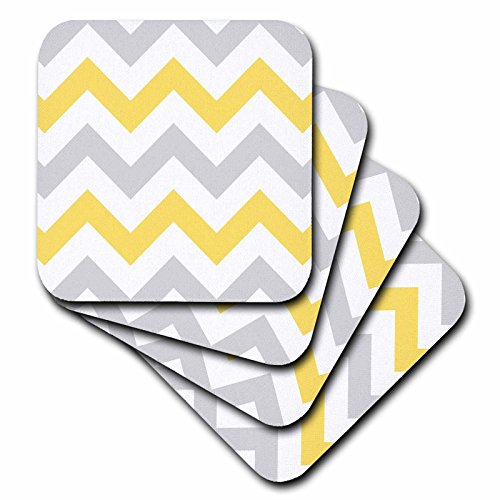- 3dRose cst_179795_1 Yellow and Grey Chevron Zig Zag Pattern-Gray White Zigzag Stripes-Soft Coasters, Set of 4