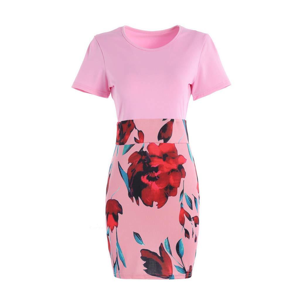 Vintage Womens Bodycon Pencil Dresses Short Sleeve Floral Printed Bandage Midi Dress Elegant Party Knee Length Dress Pink by Winsummer (Image #3)