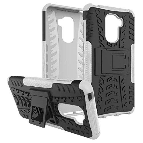 YHUISEN Hyun patrón de doble capa de armadura caso híbrido desmontable Kickstand 2 en 1 resistente a los golpes fuerte resistente cubierta de la caja para LeEco Le Pro 3 / Pro3 ( Color : Blue ) White