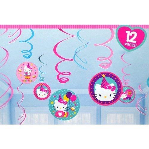 Hello Kitty Birthday Hanging Swirl Decorations (12pc)