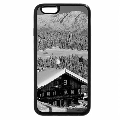 iPhone 6S Plus Case, iPhone 6 Plus Case (Black & White) - chalets in the alps