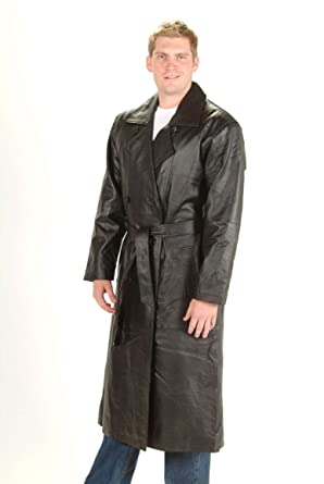 Mens Long Trench Coat Button Belted Black Genuine Soft Leather Jacket