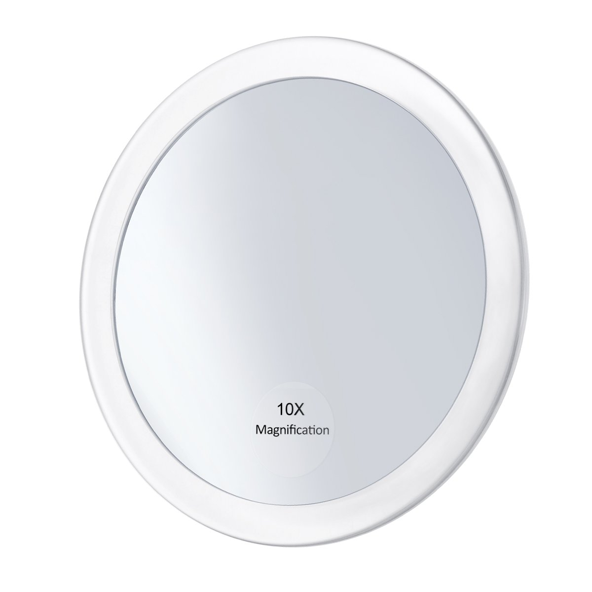 Frcolor 10X Magnifying Mirror with 3 Suction Cups, Cosmetic Make Up Mirror Folding Pocket Mirror 5.9 Inch (White)