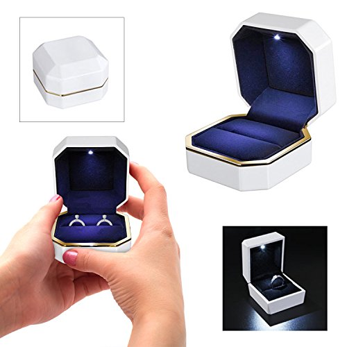 Koval Inc. Jewelry Ring Box with LED Light Proposal Engagement (White Double Ring Box) (Diy Ring Box)