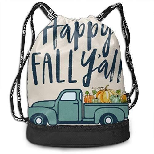 Bulk Drawstring Backpack, Lightweight Gym Sport Bundled Bag Wet Dry Separated Yoga String Cinch Tote Bag Multipurpose Casual Bag For Adult Kids - Happy Fall -