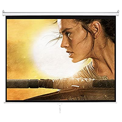 Cloud Mountain Manual Projector Screen, 100-inch Diagonal 4:3 HD Matte White, Wall Mounted Ceiling Pull Down Projection Manual Projector Screen with Auto Lock 1.3 Gain
