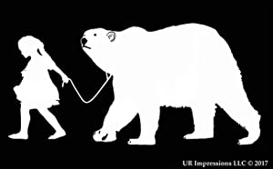UR Impressions Girl Walking Polar Bear Decal Vinyl Sticker Graphics for Cars Trucks SUV Vans Walls Windows Laptop|White|7.5 X 3.9 Inch|URI452
