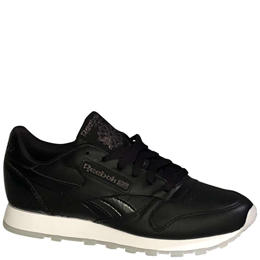 Reebok Women's Classic Leather, Pearl- Black/White/ice, 8.5 M US