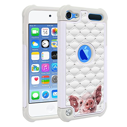 FINCIBO Case Compatible with Apple iPod Touch 5 6th Generation, Dual Layer Shock Proof Hybrid Protector Case Cover TPU Sparkle Rhinestone Bling for iPod Touch 5 6 - Baby Pig (Pig Ipod Touch 5 Case)