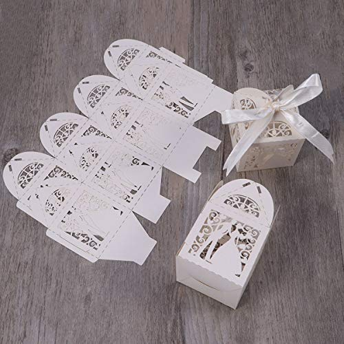 - Tinksky 100pcs Wedding Anniversary Gifts Candy Boxes - Couple Design Luxury Lase Cut with Ribbon Table Decorations (Creamy-white)