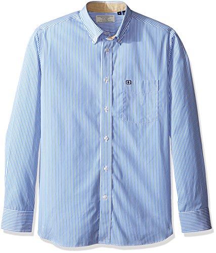 Façonnable Men's Faconnable Club Fit Striped Elbow Patch Special Shirt, Blue/Multi, X-Large - Men Elbow Patch Shirt