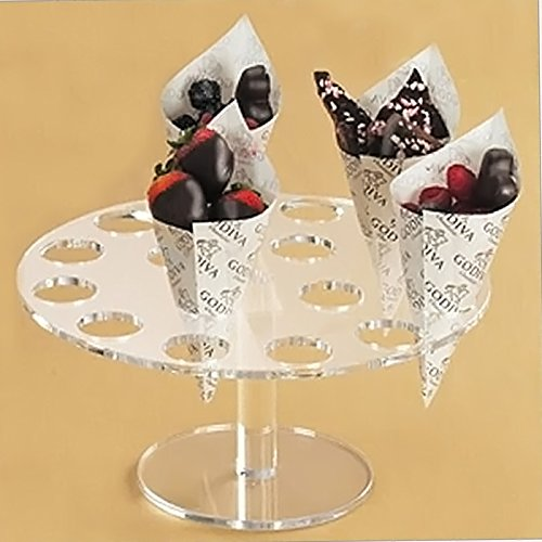 Kangkang@ 16-Hole Acrylic Clear Circle Cupcake Ice Cream Cone Display Holder Stand