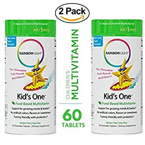 Rainbow Light Kid's One Food-Based Multivitamin 60 Tablets (2 Packs of 30) – Chewable Probiotic, Vitamin and Mineral, Soy and Gluten-Free; Supports Brain, Bone, Heart, Eye and Immune Health in Kids