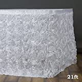 Efavormart Wonderland Rosette Table Skirt for Kitchen Dining Catering Wedding Birthday Party Decorations Events - White