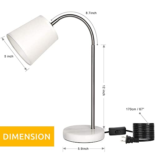 Bedside Table Lamp, Learning Table Lamp with Marble Base 360 Adjustable Flexible Swing Arm Nightstand Lamps for Bedrooms, Office, Living Room, Dorm White