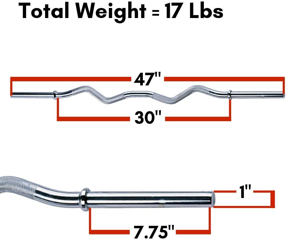 "Standard 47/"" Curl Bar Body-Solid RB47 Home Exercise Fitness Strength Equipment"