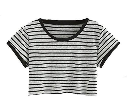099072bac8e SweatyRocks Women s Short Sleeve Striped Crop T-Shirt Casual Tee Tops Gray  M - Buy Online in Oman.