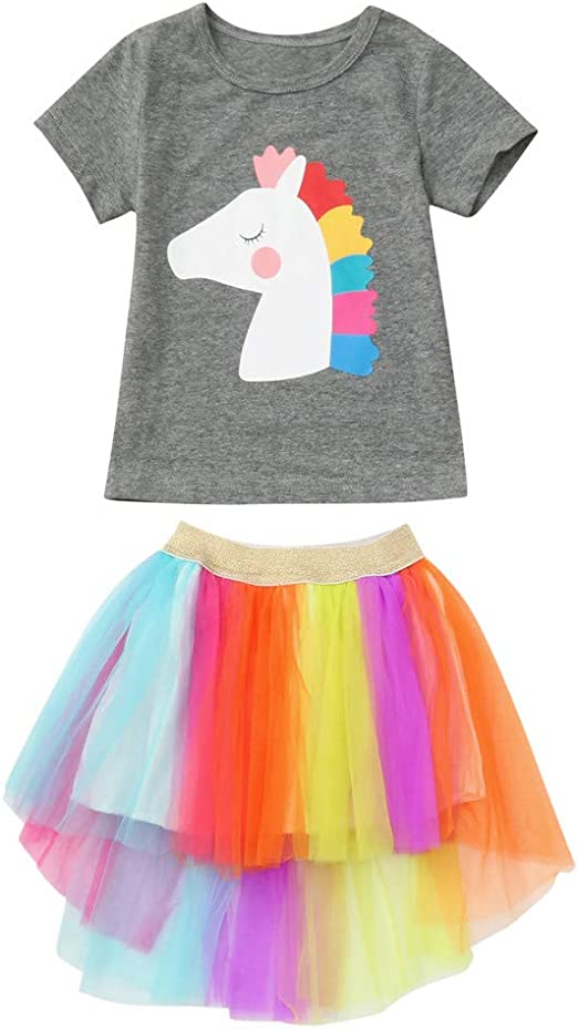 Girls 2Pcs Outfits Set Tutu Skirt Dress Tops Shirt Kids Rainbow Clothes 1-6Y