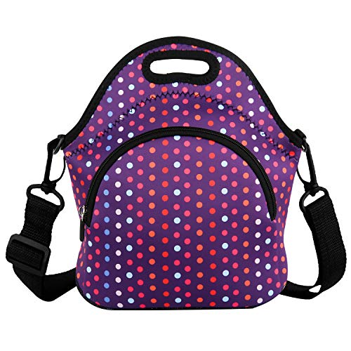 Lunch Bags Neoprene Lunch Boxes with Detachable Strap & Extra Pocket Insulated Tote Bags School Travel Picnic Office for Women Men (Fashion Dot)