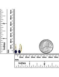 1,18 ct Oval Azul zafiro blanco creado zafiro 14 K oro amarillo arete