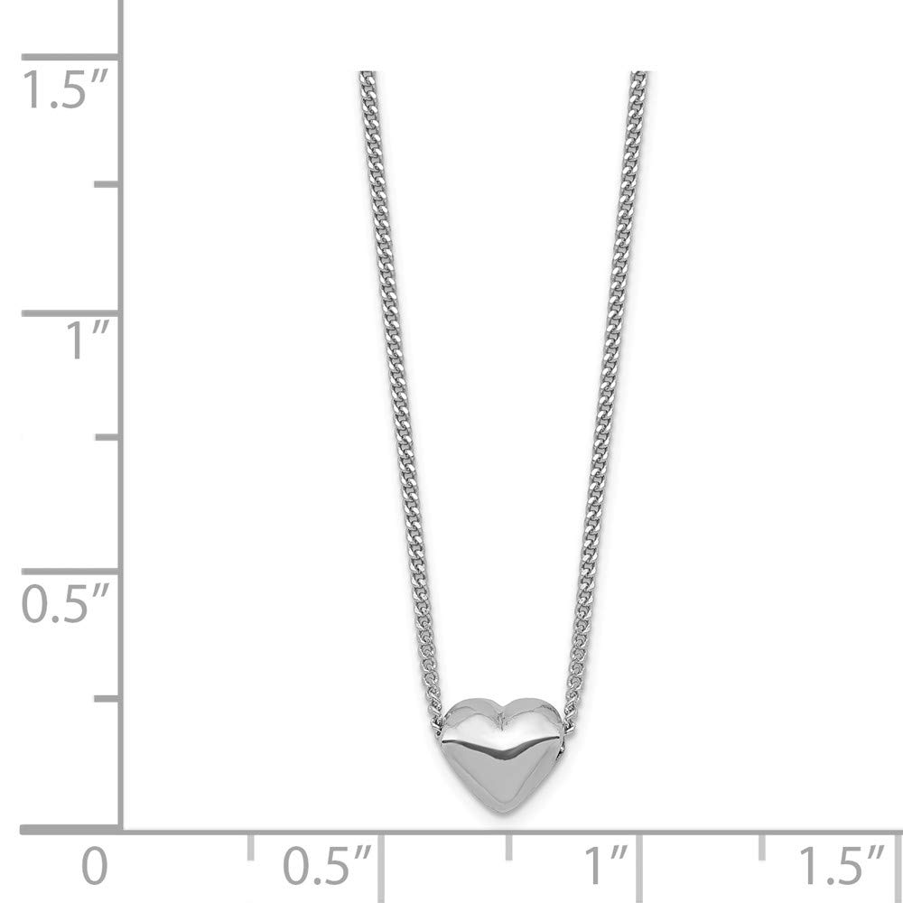 Beautiful Sterling silver 925 sterling Sterling Silver Rhodium-plated Polished Heart Necklace