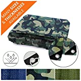 Automotive : Heavy Duty Tarps | Waterproof Ground Tent Trailer Cover | Multilayered Tarpaulin in Many Sizes and Thicknesses | 6 Mil - Camo - 8' x 10'