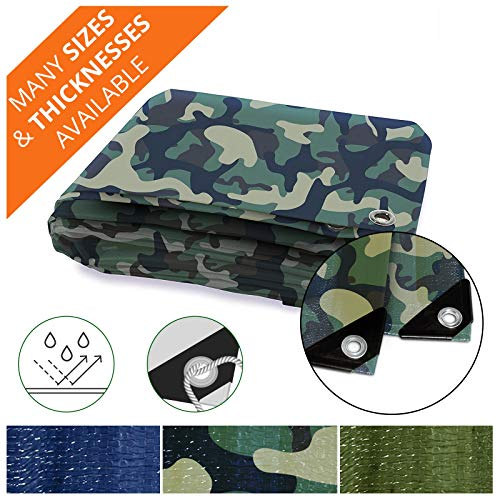 Heavy Duty Tarps | Waterproof Ground Tent Trailer Cover | Multilayered Tarpaulin in Many Sizes and Thicknesses | 6 Mil - Camo - 10' x 12' ()