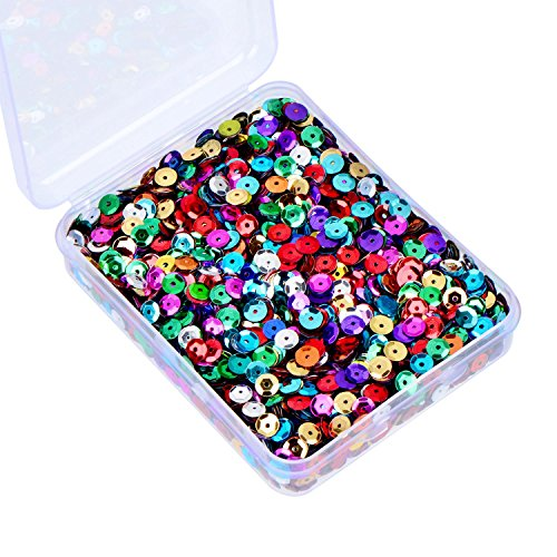 (Whaline 20,000 Pcs Bulk Loose Sequins Cup Sequin Iridescent Spangles Flat Beads with Storage Box for Crafts, Sewing, Sequin Slime, Wedding Decoration, 80 Grams, 6 mm)