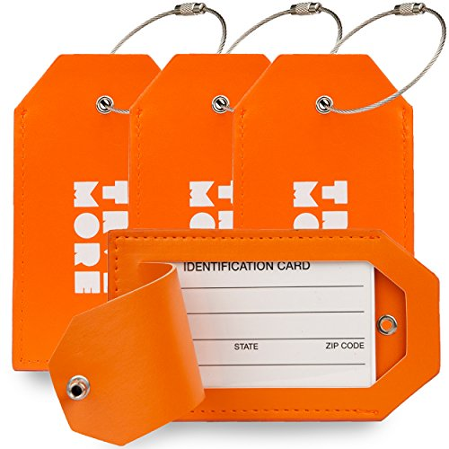 4 Pack TravelMore PU Leather Luggage Tags For Suitcases w/Privacy Cover - Travel ID Identifier Labels Set For Bags & Baggage - Men & Woman - Orange