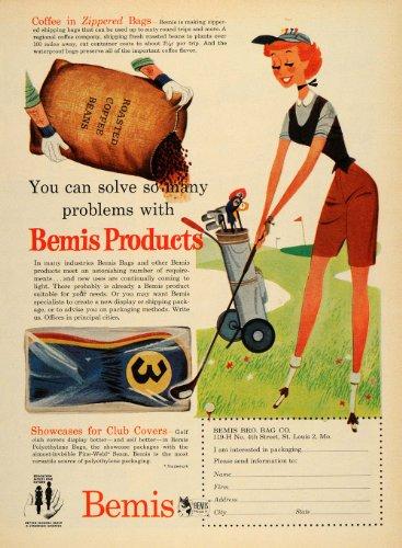 1955 Ad Bemis Bag Golfing Woman Coffee Bean Shipping - Original Print Ad
