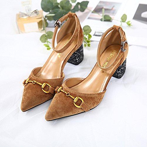 inclinate con yalanshop 35 pesanti il spesse Sweet scarpe Scarpe con alto Brown And e a tacco Versatile T4W1STcHq