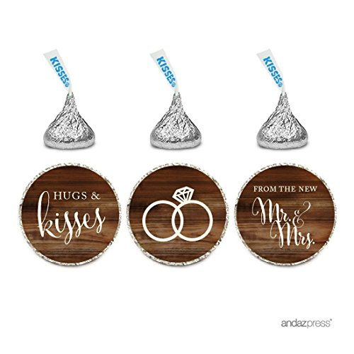 Andaz Press Chocolate Drop Labels Stickers, Wedding Hugs & Kisses from the New Mr. & Mrs, Rustic Wood Print, 216-Pack, For Bridal Shower Engagement Hershey's Kisses Party Favors Decor -