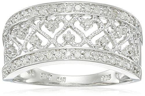 Sterling Silver Multi-Heart Diamond Ring (1/5 cttw, I-J Color, I2-I3 Clarity), Size 7 by Amazon Collection