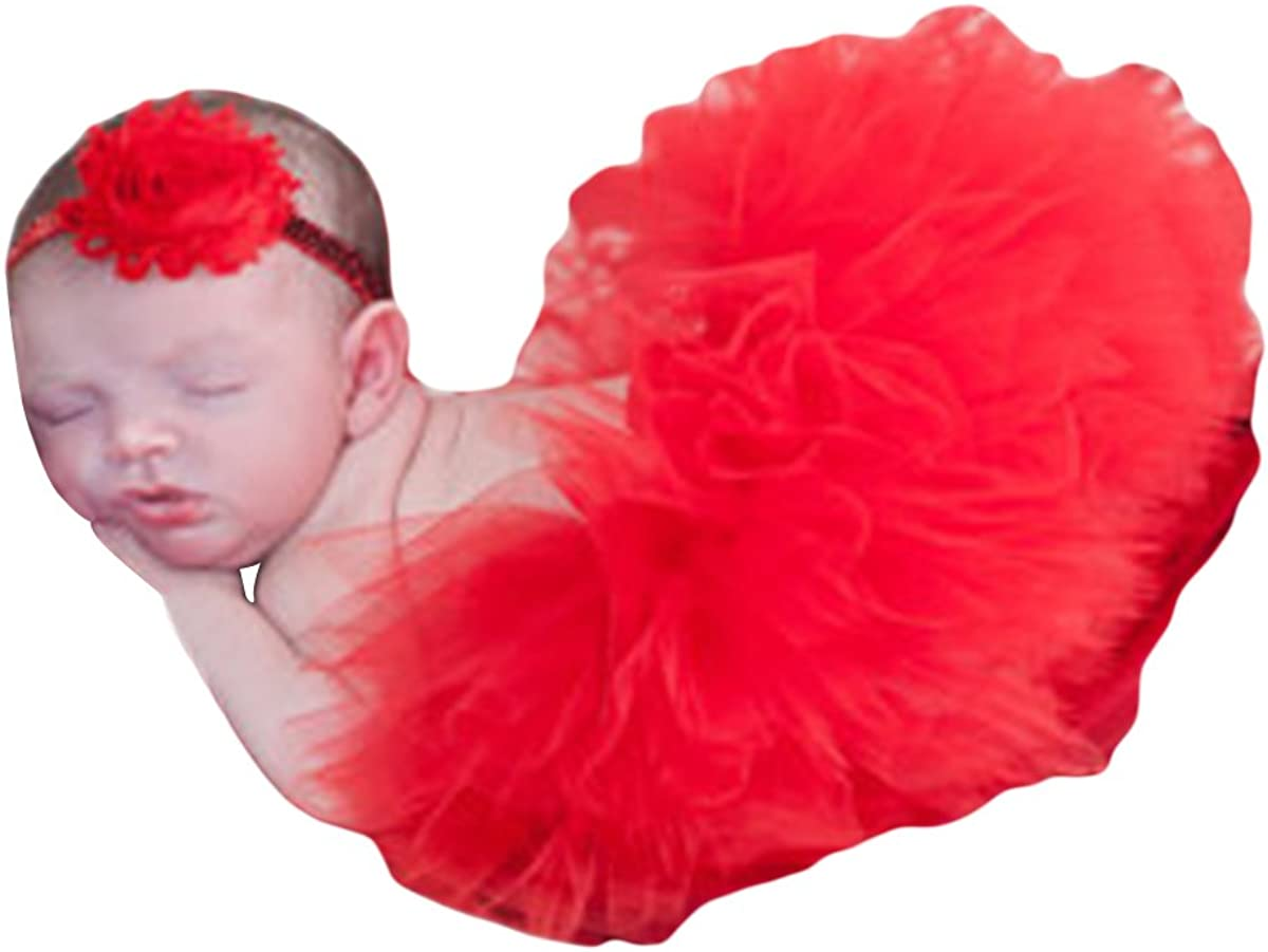 Free Size fits 0-3 Month Quesera Infant Photography Prop Tutu Headband Set Newborn Baby Tulle Skirt Outfit Red