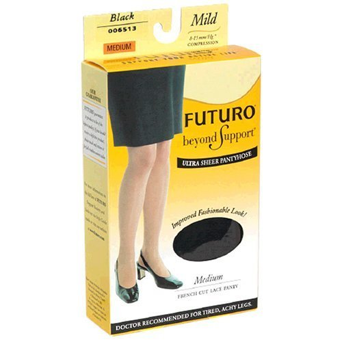 Futuro Energizing Ultra Sheer Pantyhose, Medium,Black, Mild, French-Cut Lace Panty, 1-Pair Boxes (Pack of - Lace Panty Cut French