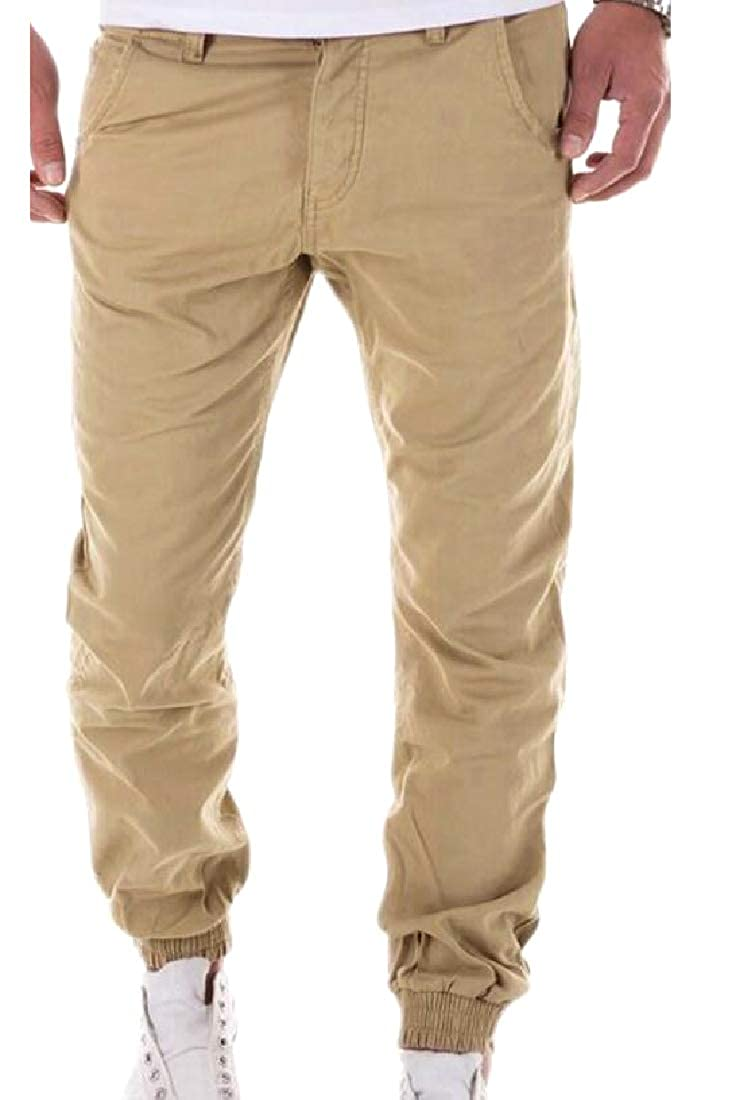 YUNY Mens Pure Color Relaxed-Fit High Street Beam Foot Trousers Khaki S