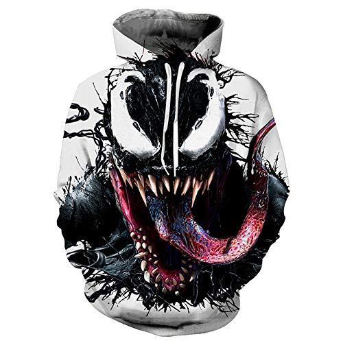 Venom Hoodie,3D Venom Hoodie for Men Printed Casual Hoodie Sweatshirt White