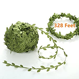 EMAAN 328 ft Artificial Vine, Fake Plant Vine Leaves Green Leaves Garland Simulation Ribbon Wedding Party Christmas Home Wall DIY Decoration 44