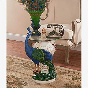 Design Toscano Staverden Castle Peacock Glass Topped Side Table, 25 Inch, Polyresin, Full Color